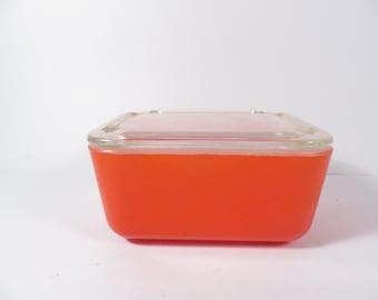 Mid Century Red Orange Glasbake Refrigerator Dish