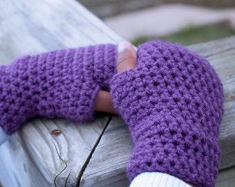 Girls Fingerless Gloves - Childrens Fingerless Gloves - Toddler Gloves - Baby Gloves - Crochet Mittens - Purple Gloves - Kids Gloves