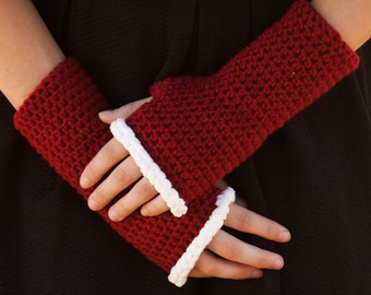 Santa Gloves - Mrs. Clause Gloves - Christmas Gloves - Red Fingerless Gloves - Fuzzy Gloves - Santa's Helper - Mrs. Clause Costume