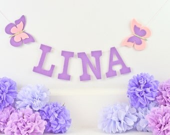 "Uppercase Felt Letters w/ Glitter Felt Butterfly Banner / Custom Baby Name / Smash Cake Baby Shower Nursery Decor / Other Colors / 4"" Uppers"