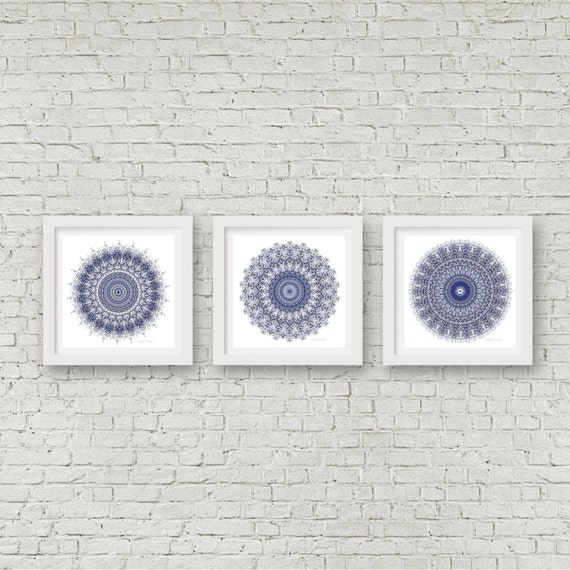 Navy Blue Wall Art mandala wall art set of 3 matching prints navy blue wall art