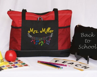 Music teacher tote bag, Personalized ,graduation gift,appreciation gift, red, blue, green, pink embroidered side pocket, multicolored