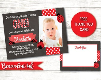 Ladybug Invitation - Printable Ladybug Birthday Party Invite - Girl Birthday Invitations - Chalkboard Invitation - FREE Thank You Card