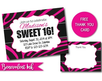 Sixteenth Birthday Invitation - Sweet 16 Invite - Teenage Birthday Party Invitation - Girls Birthday - Zebra Stripe Birthday Invitation