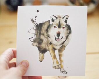 Running Wolf birthday card