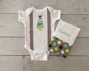 Personalized Baby Boy Tie Onesie and Burp Cloth