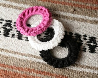 Set of 3 Crocheted Hair Scrunchies