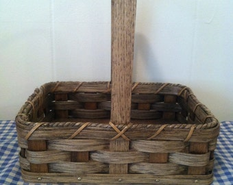 Handmade Amish Reed Woven Candy Basket in Walnut - Signed - #246