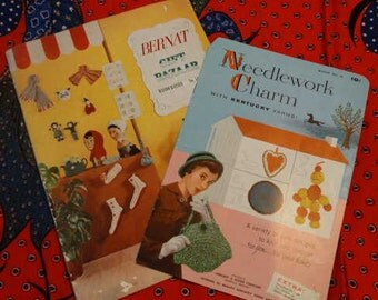 1950s Knitting and Crochet Booklets 2 Pieces Gifts Rugs Sweater Collar Pattern Books