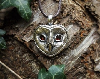 Barn Owl necklace , silver and garnet pendant.