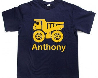 Personalized DUMP TRUCK / construction tee shirt  t-shirt / shirt for boy - any size from toddler to youth (More Colors)