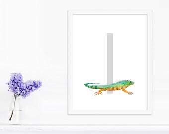Letter Art, The Letter I, Iguana Art, Iguana, Wall Letters, Nursery Art, Playroom Decor, Animal Alphabet, Alphabet Nursery, ABC Deco