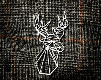 Geometric Low Poly Stag Deer necklace