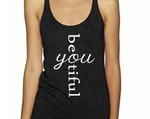 BeYOUtiful Tank Top Flawless  Workout Fitness Cross Fit Mom  T-Shirt Tee Shirt Fitness Apparel Gym Womens