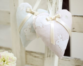 Lavender Filled Hanging Heart Sashet *Lilly White Designs* Rabbit & Clover Fabric - country cottage style with silk bow gift present