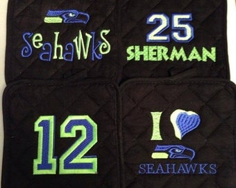 SET OF 4 Seahawks hot pads/pot holders.  Or use for your Seahawks decor.