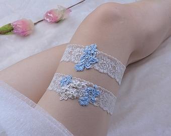 bridal garter set, wedding garter, bride garter set, lace garter, something blue garter, garter with blue, ecru lace garter, vintage garter