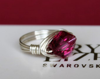 12mm Fuchsia Cosmic Crystal Wrap Ring made with Swarovski Crystal Elements by LadyCJewellery