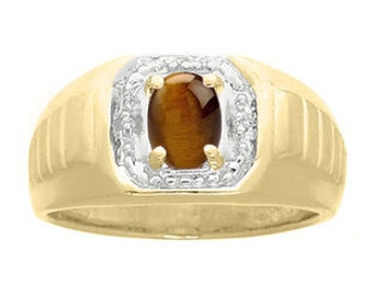 Diamond Tiger Eye Mens Ring, Available in Yellow White or Black Gold, Mens Tiger Eye Rings, Tiger Eye Stone Rings For Men, Gifts For Him