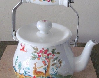 Vintage Hungarian Style Enamel White Teapot Kettle With Handle
