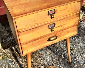 Wood 3 Drawer Table