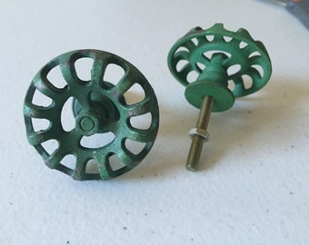 Green faucet knobs, set of two