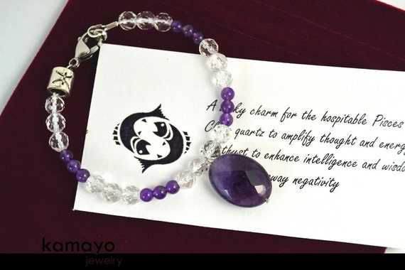 PISCES CHARM BRACELET - Purple Amethyst Pendant and Clear Quartz Beads - Fits Wrist of Up to 6""
