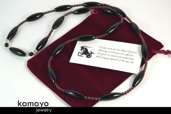 CAPRICORN LARIAT NECKLACE - Large Rice Black Onyx Beads and Red Garnet - 36 Inches
