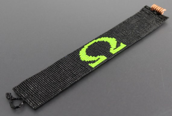 Bright Green Ohm Vaping  Symbol on Black Seed Bead Men's Cuff.Copper Coil Button.Cube Bead Loop.Unisex