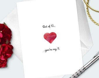 "ANNIVERSARY CARD For Wife ""Out of 10, You're My 11"" Funny Love Card For Her- For Girlfriend- Anniversary Gift- Blank Greeting Card"