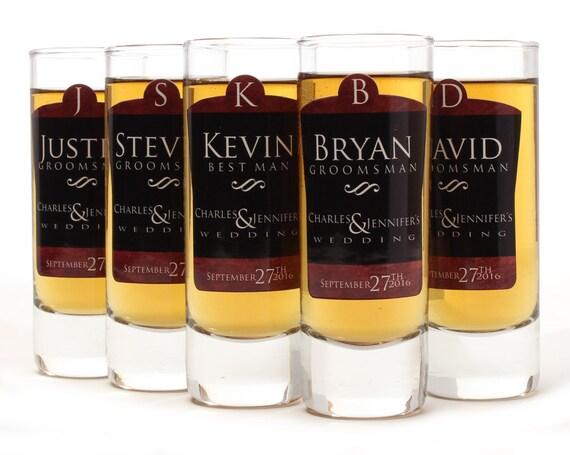 Set of 9, Custom Shot Glasses, Groomsmen Shot Glasses, Personalized Shot Glass, Black and Copper Design