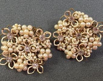 Intricate Vintage Beaded Clip Earrings - free shipping