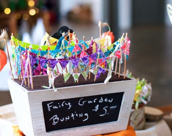 Outdoor / Indoor Fairy Garden Bunting, handmade, mini prayer flags. Build you own fairy garden kit.