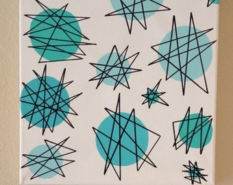 Mid Century Modern Wall art Atomic 1950s Starburst painting