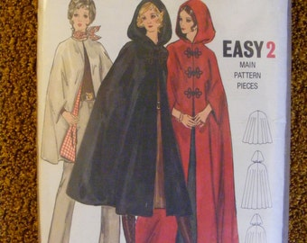 Mid Century Misses' Cape Size Medium 12 14 Butterick Sewing Pattern 5987
