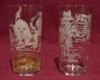 2 Davy Crockett drinking glasses, 12 oz each.
