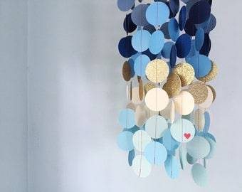 CUSTOM baby mobile / dorm room / nautical blue ombre mobile