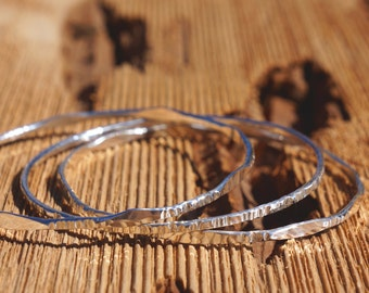 Set Of 3 Thin Sterling Silver Hammered Bangles