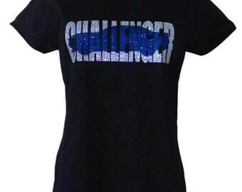 Dodge Challenger Womens Glittery Black T-Shirt of Hoodie