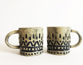 Hand Built Stoneware Patterned Mug - two available