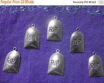 SALE Gravestone Charm - 6 Charms - Halloween Charm - Tombstone Charm - Headstone Charm