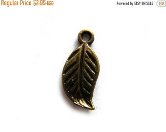 SALE 10 Small Bronze Leaf Charms - 17mm