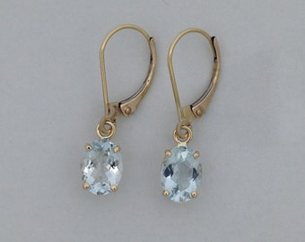 Natural Aquamarine Dangle Earrings Solid 14kt Yellow Gold