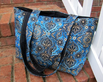 Blue, Black, and Metallic Gold Reversible Tote