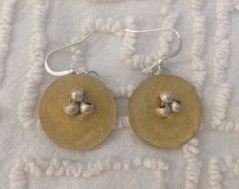 Gold Discs with Silver Beads Earrings