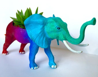 Original Elephant Planter - Hand-painted Red, Pink, Purple, Blue, and Aqua Upcycled Animal Statuette