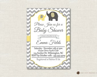 Yellow and Gray Elephant Baby Shower Invitation, Baby Shower Invitation, Elephant Baby Shower Invitation, Gender Nuetral, Editable, DIY