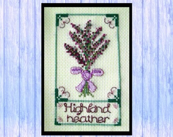 Scottish Highland Heather, Original Cross Stitch Chart, Instant PDF Download, Scotland