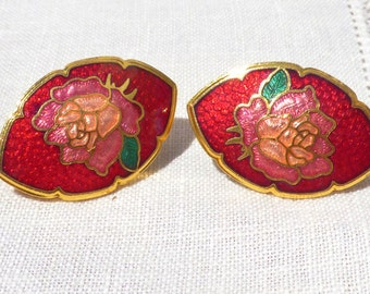 Vintage 80's Cloisonee Clip On Earrings