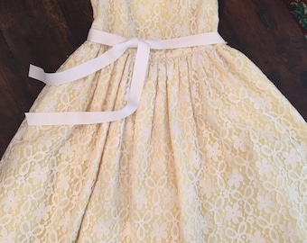 Pippa & Julie yellow and white lace vintage dress size girls 12